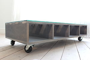 Grey Plywood Coffee Table On Castors - furniture