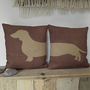 ' Daschund ' Pair Of Cushions