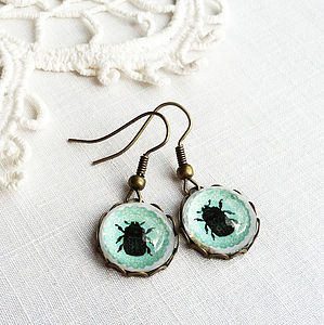 Turquoise Glass Beetle Earrings - earrings