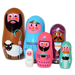 Christmas Nativity Nesting Dolls - traditional toys & games