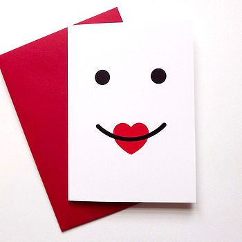 Kiss card Thank you card love card Heart card