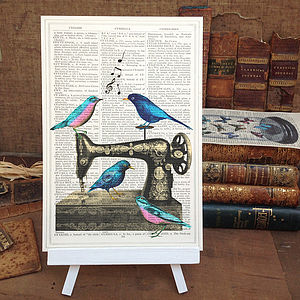 Antique Sewing Machine And Birds Art Print - contemporary art