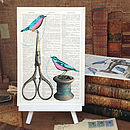 Sewing Birds Scissors Vintage Art Page Print