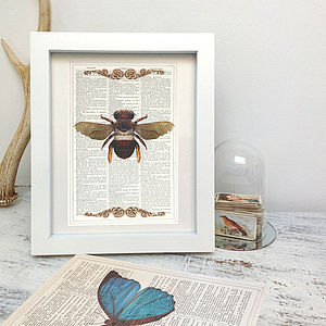 Upcycled Antique Paper Insect Bee Print