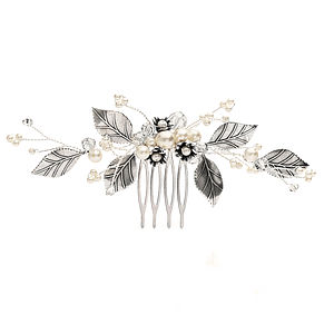 Floribunda Pearl And Silver Rose Leaf Comb - wedding jewellery