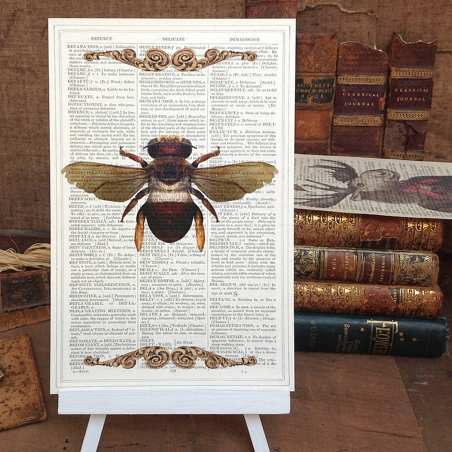 Upcycled Antique Paper Insect Bee Print By Roo Abrook