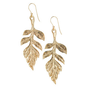 Gold Wild Sorbus Leaf Earrings - earrings