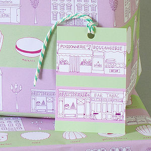 Two Sheets Of Patisserie Print Wrapping Paper - wrapping