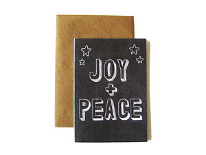 'Joy And Peace' Chalkboard Card - cards & wrap