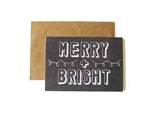 'Merry And Bright' Chalkboard Card - cards