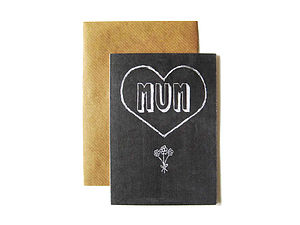 'Mum' Chalkboard Card - mother's day cards