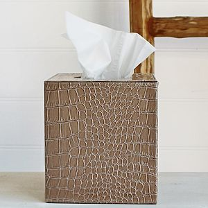 Snakeskin Beige Square Tissue Box - storage