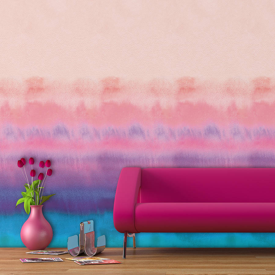 Rainbow watercolour self adhesive wallpaper by oakdene for Self adhesive wallpaper designs