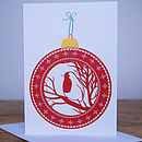 Robin Christmas Bauble Card