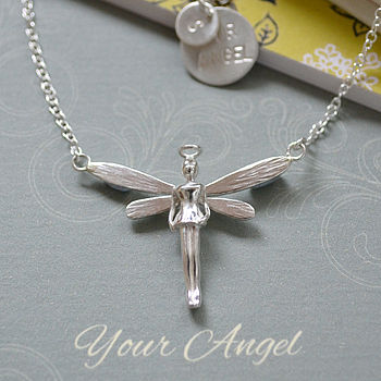 Personalised Silver Angel Necklace