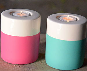 Colour Dipped Tea Light Holder - candles & candlesticks