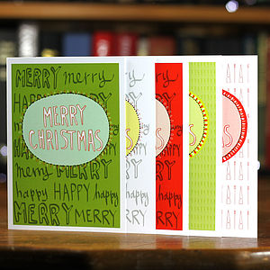 Merry Christmas Set Of Five Patterned Cards - cards & wrap