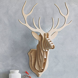 Wooden Stag Head Wall Trophy - decorative accessories