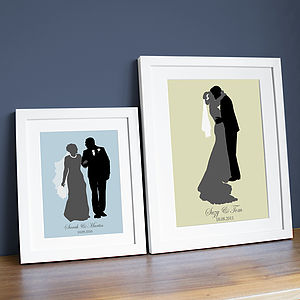 Personalised Wedding Silhouette Print