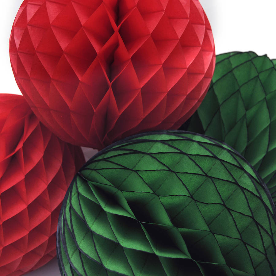 Paper Decoration Balls: Christmas Tissue Paper Honeycomb Ball Decoration By Peach