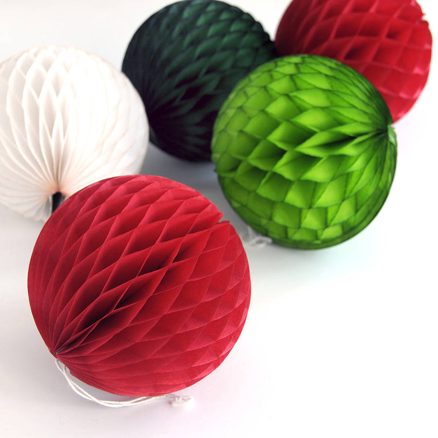 christmas tissue paper ball decoration by peach blossom ...