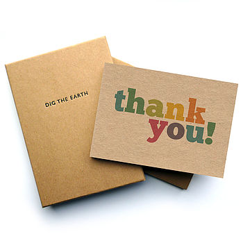 Set Of 12 Colourful Thank You Postcard Note Cards