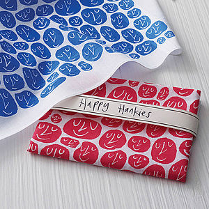 Set Of Two Happy Hankies - stocking fillers under £15