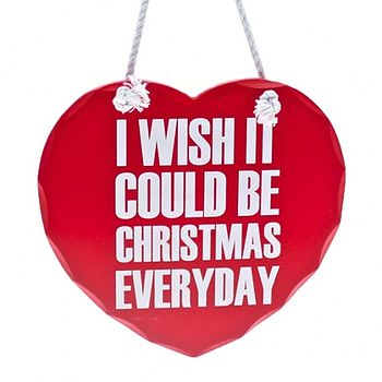'Christmas Everyday' Wooden Heart Sign