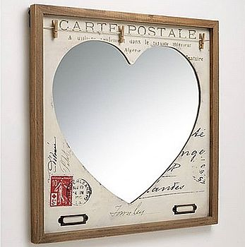 'Carte Postale' Vintage Inspired Heart Mirror