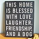 'Home Blessed With Dog' Wooden Sign