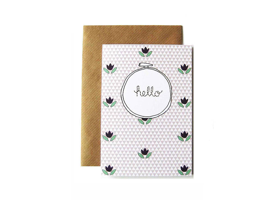 'Hello' Embroidery Hoop Card