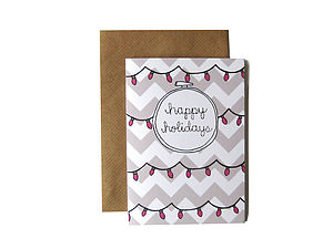'Happy Holidays' Embroidery Hoop Card - cards