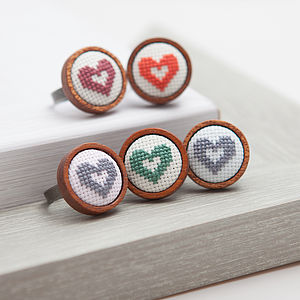 Hand Embroidered Mini Heart Ring - rings
