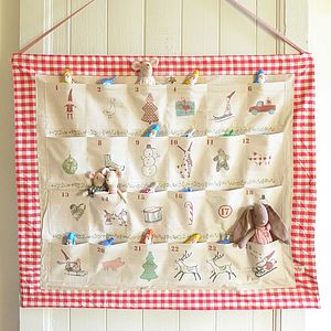 Red Gingham Pocket Advent Calendar - advent calendars & countdowns