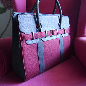Large Felt Portfolio Bag In Burgundy Or Navy