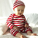Red And White Stripy Baby Romper