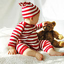 Red And White Festive Stripy Romper