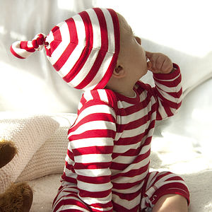 Red And White Stripy Romper - babygrows