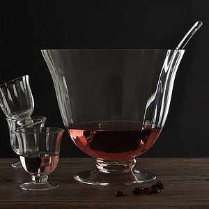Glass Punch Bowl And Glasses Set