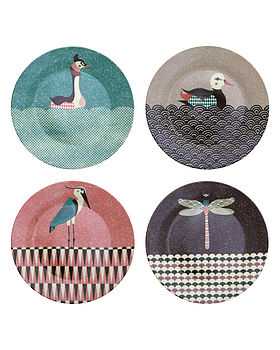 Set Of Four Pond Living Side Plates