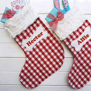 Personalised Gingham Christmas Pet Stocking