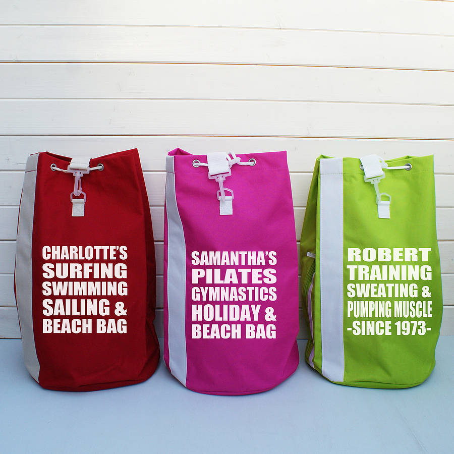 personalised sports or beach duffle bag by sparks clothing ...