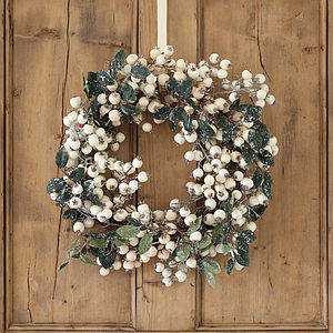 White Snowberry Christmas Wreath - rustic christmas