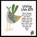 'Little Life Kit' - showing example personalised message with green bird