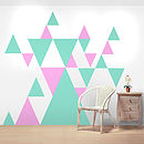 Pink and Light Grey Geometric Triangle Wall Stickers