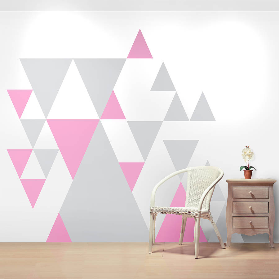 geometric pattern giant wall sticker set by oakdene. Black Bedroom Furniture Sets. Home Design Ideas