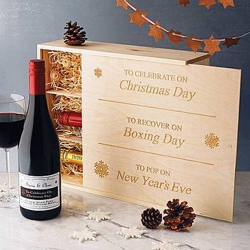 Personalised Christmas Wine And Champagne Box