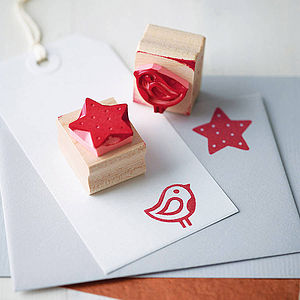 Hand Carved Christmas Rubber Stamp - ribbon & wrap