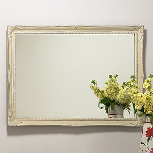 Slim Swept Hand Painted Vintage Cream White Mirror - bedroom