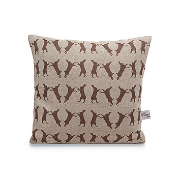 Boxing Hare Linen Cushion